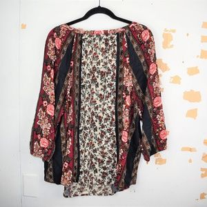 Lucky Brand Tops - Lucky Brand Floral Scarf Print Peasant Top